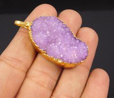 Lovely 18 Carat Gold Plated Purple Suger Druzy Handmade Pendant Jewelry NJ194 #Handmade