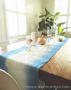 DIY dyed ombre table runner