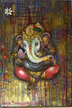 Buddha ~ Ganesha The God~Striking Painting In Watercolour. Lord Ganesha, Shri Ganesh, Ganesha Art, Indian Gods, Indian Art, Om Gam Ganapataye Namaha, Little Buddha, Ganesha Painting, Hindu Deities