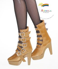 "5-Strap Mary Jane Leather High-Heel Boots Shoes Patent Dark Gold for 16"" Tonner Antoinette, Ellowyne Wilde, Tyler, Gene, Sybarite dolls"