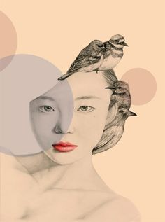 Seoul, Korea based artist okArt has created this collection of beautiful portrait illustrations, she has named the project 'The Girl and the Birds'. Woman Illustration, Portrait Illustration, Bird Drawings, Pencil Drawings, Portraits Illustrés, Polychromos, Drawing Base, Art Design, Graphic Design