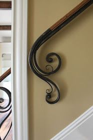 Steel & Wood Railing by Maynard Studios. I like this railing. Wrought Iron Stair Railing, Wall Railing, Stair Railing Design, Stair Handrail, Staircase Railings, Banisters, Wrought Iron Decor, Wall Mounted Handrail, Estilo Colonial
