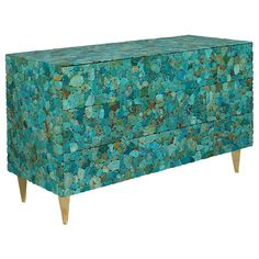 Very Refined Turquoise Chest by Kam Tin | From a unique collection of antique and modern cabinets at https://www.1stdibs.com/furniture/storage-case-pieces/cabinets/