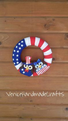 Felt wreath, patriotic wreath, 4th July wreath, Independence Day,Blue red and white wreath, God bless America, the Beautiful, USA, felt owls