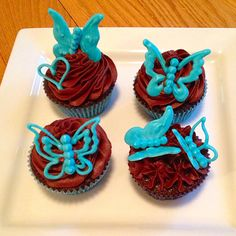 Chocolate fudge cupcakes with white chocolate butterflies