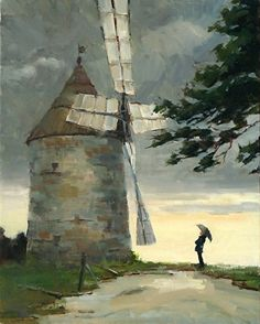 "Windmill Dream by Philippe Gandiol Oil ~ 20"" x 16"""