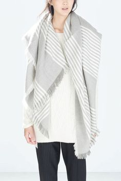 Gray and White Striped Wool Scarf