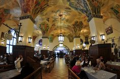 Hofbrauhaus, Munich.  Busy & interesting place.  Beer hall where Hitler got his start rabble-rousing.