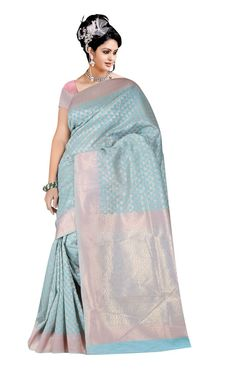 buy saree online Designer Inspired Light Sky Blue Banarasi Cotton Silk Jacquard…