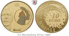RITTER Frankreich, 10 Euro 2007, Tim und Struppi, Gold, PP #coins #numismatics