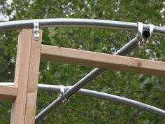 This should work to attach wood door frame to repurposed trampoline for my chicken coop. Backyard Trampoline, Backyard Farming, Backyard Patio, Backyard Landscaping, Recycled Trampoline, Trampoline Ideas, Small Greenhouse, Greenhouse Plans, Outdoor Projects