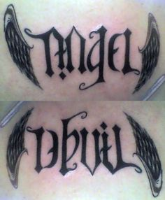 Tattoo angel v devil / thinking without the wings...and lets be honest a littlw of both live inside all of us