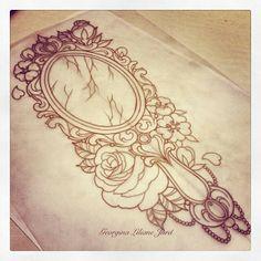 Broken Mirror w/ Roses Glamour Sketch Tattoo Idea
