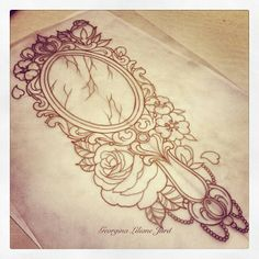 Broken Mirror w/ Roses Glamour Sketch Tattoo Idea