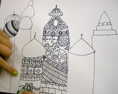 Zilker Elementary Art Class: 4th & 5th Grade Russian Architecture Drawings