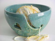 Kitty Paw Prints  Yarn Bowl  Handmade stoneware by alispots, $34.00