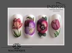 Gel Nails, Manicure, Lab, Nail Stencils, Indigo Nails, Nailart, Flower Nail Art, Nail Tutorials, Foto E Video