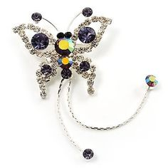 Purple Crystal Butterfly With Dangling Tail Brooch Avalaya. $17.91. Type: crystal. Occasion: anniversary, casual wear. Metal Finish: rhodium plated. Gemstone: diamante. Theme: insect, butterfly. Save 38%!