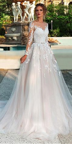 Chic Tulle Bateau Neckline A-Line Wedding Dress With Lace Appliques & Beadings & Bel