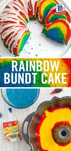 A slice of this Rainbow Bundt Cake reveals a bright, colorful dessert. For your St. Patrick's Day celebration, garnish the cake platter with gold chocolate coins.