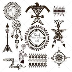 Tribal Native American Set - Decorative Symbols Decorative