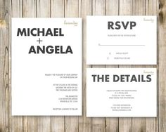MINIMALISTIC WEDDING Invitation Set, Modern 3 Piece Pocket Suite, Black and White Wedding Invite, RSVP Info Card, Simple Minimal Printable on Etsy, $15.00