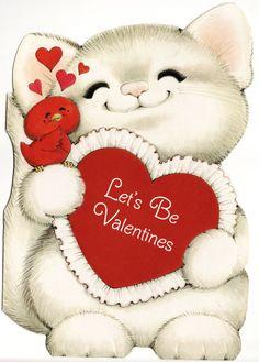 Vintage Valentine card, kitty and bird