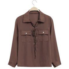 Chiffon Bandage Front Pockets Lapel Long Sleeves Women Shirt (€13) ❤ liked on Polyvore featuring tops, chiffon shirt, holiday shirts, evening tops, brown top and long sleeve chiffon shirt