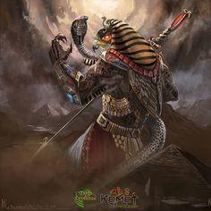 Ra Supremo by highdarktemplar on DeviantArt Ancient Egyptian Deities, Ancient Egypt Art, Egyptian Mythology, Egyptian Symbols, Egyptian Goddess, Egyptian Art, African Warrior Tattoos, Egypt Concept Art, Horus Tattoo
