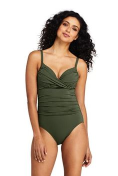 ce77bc3610bea Women s Perfect Draped Underwire One Piece Swimsuit with Tummy Control