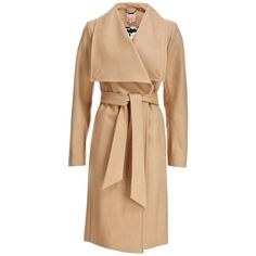 Pre-owned Ted Baker New London Camel Cashmere Wool Wrap Jacket Nwt 3... ($445) ❤ liked on Polyvore featuring outerwear, coats, camel tan, beige wool coat, wool cashmere coat, cashmere trench coat, wool coat and draped wool coat
