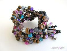 Boho style, hemp knotted Bracelet in purple - £27.99