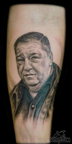 Black and Gray Portrait Tattoo by Nicole at BLTNYC Tattoo Shop Queens #portrait #portraittattoo #tattoo #armtattoo