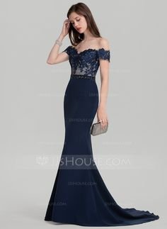 Trumpet/Mermaid Off-the-Shoulder Sweep Train Beading Sequins Zipper Up Strapless Short Sleeves No Dark Navy Spring Summer Fall General Plus Satin Height:5.8ft Bust:31in Waist:25in Hips:35in US 2 / UK 6 / EU 32 Evening Dress
