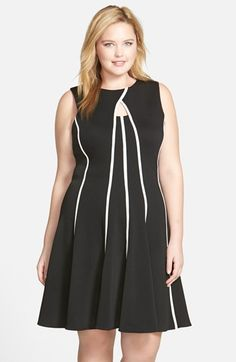 Gabby Skye Sleeveless Textured Knit Fit & Flare Dress (Plus Size) available at #Nordstrom