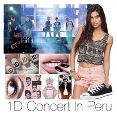 """""""1D Concert In Peru"""" by bricel1d ❤ liked on Polyvore featuring beauty, Bullhead Denim Co., Maybelline and Converse"""