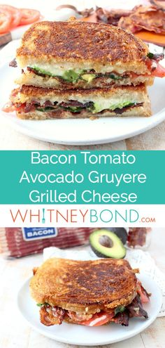 Crispy bacon, creamy avocado and juicy tomatoes are combined in this scrumptious gruyere and avocado grilled cheese sandwich recipe! #recipe #grilledcheese #bacon #avocado