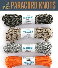The first three knots are excellent. The fourth knot is a totally bad idea. Don't even think about rappelling with paracord.
