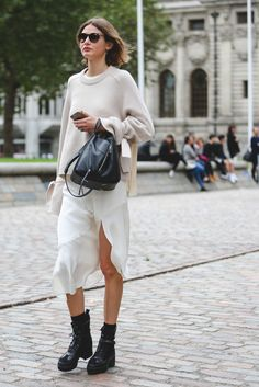 The Best Street Style At LFW SS17 #refinery29  http://www.refinery29.uk/2016/09/118817/street-style-lfw-ss17#slide-8  Stylist Victoria Sekrier nails neutrals....