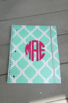 and White Pattern Monogram Notebook for Back to School, College, and Work!Green and White Pattern Monogram Notebook for Back to School, College, and Work! Monogram School Supplies, Personalized School Supplies, College School Supplies, Back To School Supplies, Office Supplies, Preppy Monogram, Monogram Gifts, Vinyl Crafts, Vinyl Projects