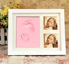 BXT Nontoxic Safe Clay Baby Handprint  Footprint Classic Solid Wood Desktop Picture Frame Kit for Newborn Baby Toddler Infant First Hand Foot Prints Photo Babyprints Frame Keepsake Ornament Kit Gift -- This is an Amazon Affiliate link. Details can be found by clicking on the image.