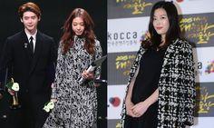 Lee Jong Suk and Park Shin Hye reunite at 2015 Korean Popular Culture and Arts Awards; Jeon Ji Hyun, JYJ and more also honored