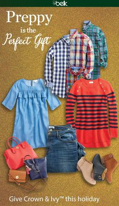 Give Crown & Ivy™ sweaters in festive hues, boots and shoes in the latest trends and preppy handbags to the women on your list this holiday. The man in your life will love updating his look with colorful Crown & Ivy™ plaid shirts, sport coats, graphic tees and more. And just in: Crown & Ivy™ for girls, so your little ones can dress up just like Mom! Shop Crown & Ivy™ in stores and at belk.com.
