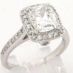 Cushion cut diamond engagement ring 2.05ctw