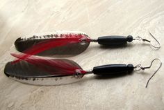 Feather Earrings  Black White and Red Beaded by peacefrogdesigns, $18.00