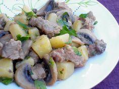 Bocconcini di vitello con funghi e patate