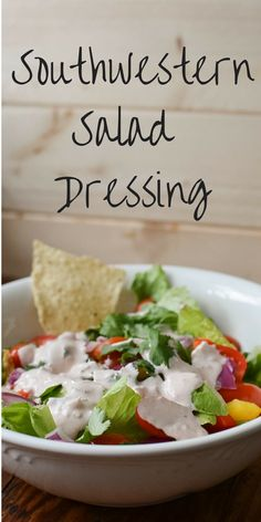 Taco Salad is delicious with a creamy and easy Southwestern Salad dressing.  This taco salad dressing recipe has very few ingredients and involves no mayonnaise!  Fix a taco salad for lunch and drizzle on this Southwestern Salad Dressing