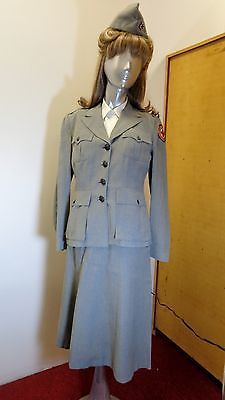WW2 AMERICAN RED CROSS MILITARY WELFARE SUMMER UNIFORM NAMED