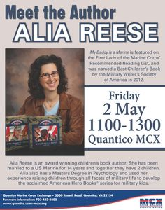 Alia Reese Book Signing, 2 May, 1100-1300, Quantico MCX