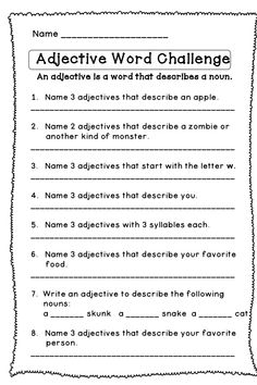 √ Adjectives Worksheets for Grade 6 . 24 Adjectives Worksheets for Grade 6 . 2nd Grade Grammar, 2nd Grade Ela, 3rd Grade Writing, Grammar And Punctuation, Teaching Grammar, 2nd Grade Reading, Teaching Language Arts, Teaching Writing, Speech And Language